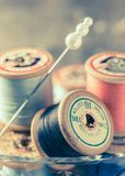 Vintage Sewing Threads Royalty Free Stock Images