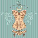 Vintage sexy guipure corset. Vector illustration in retro style Royalty Free Stock Photo