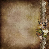 Vintage shabby background with faded roses and retro decor Royalty Free Stock Images