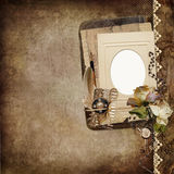 Vintage shabby background with frame, faded roses, old letters Stock Images