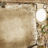 Vintage shabby background with frame, faded roses and retro decorations Stock Photo