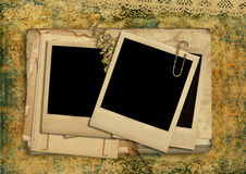 Vintage shabby background with polaroid-frame Stock Photography