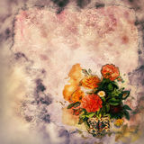 Vintage Shabby Chic Background. Pink and orange vintage flowers on shabby chic background Royalty Free Stock Image