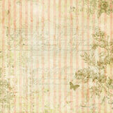 Vintage shabby chic pink striped background with floral frame and butterfly Stock Photos