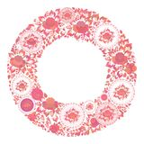 Vintage shabby Chic red orange flowers and leaves on white background. spring romantic decoration round frame, wreath card design,. Banner template for your stock illustration