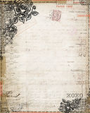 Vintage Shabby Chic rose french invoice stationary Royalty Free Stock Image