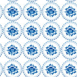 Vintage shabby Chic Seamless ornament pattern blue flowers leave Stock Image