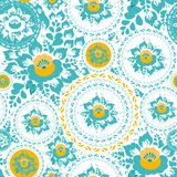 Vintage shabby Chic Seamless ornament pattern with turquoise and orange flowers and leaves. Vector Royalty Free Stock Image