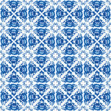Vintage shabby Chic Seamless pattern with blue flowers and leaves. Vector Royalty Free Stock Image