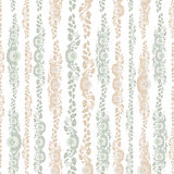 Vintage shabby Chic Seamless pattern with flowers and leaves beige blue on white background . Vector Royalty Free Stock Images