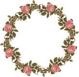 Vintage shabby floral roses wreath on isolated white background stock photo