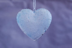 Vintage shabby hearts on the background of old paper shades of purple. Soft focus, background mode Stock Photo