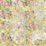 Vintage shabby painted floral roses background seamless pattern Royalty Free Stock Image