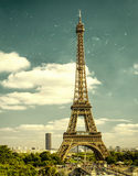 Vintage shabby photo of Eiffel Tower in Paris Royalty Free Stock Photography