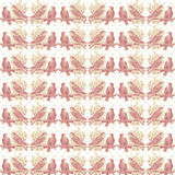 Vintage Shabby Pink Love Birds Pattern Background Stock Images