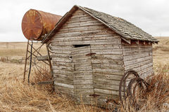 Vintage shack with fuel tank Royalty Free Stock Photo