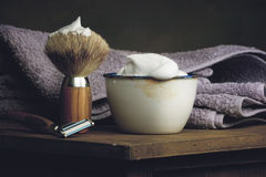 Vintage Shaving Equipment on wooden Table Stock Photos