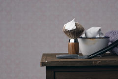 Vintage Shaving Equipment on wooden Table Royalty Free Stock Photography