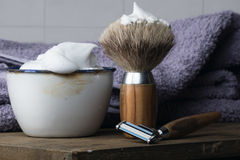 Vintage Shaving Equipment on wooden Table Stock Images