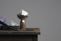 Vintage Shaving Equipment on wooden Table Royalty Free Stock Photos