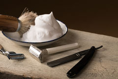 Vintage shaving Equipment on wooden Table Royalty Free Stock Image