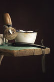 Vintage Shaving Tool on wooden Table Royalty Free Stock Images