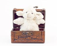 Vintage sheep toy in old chest Stock Image