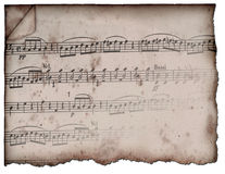 Vintage Sheet Music. Vintage and aged scrap of sheet music that is showing age Stock Images