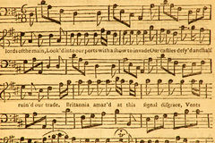 Vintage Sheet Music. This early music sheet was print in London in 1753 Royalty Free Stock Image