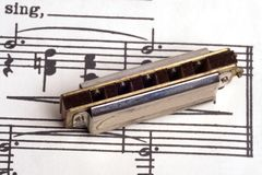 Vintage sheet music with a vintage harmonica on to Royalty Free Stock Photos