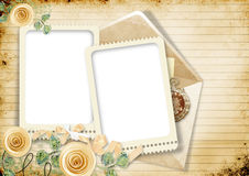 Vintage sheet notebook with roses and borders Royalty Free Stock Photos