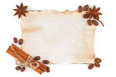 Vintage sheet paper with spice and coffee seed Stock Photography