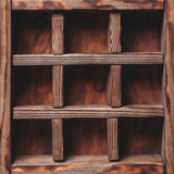 Vintage shelf. Stand on the wooden background stock image