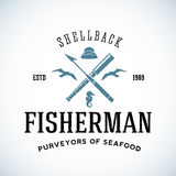 Vintage Shell Back Fisherman Vector Logo Template Royalty Free Stock Photography