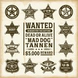 Vintage sheriff, marshal and ranger badges set Royalty Free Stock Photos