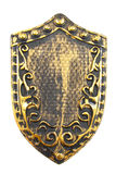 Vintage shield. Old golden decorated shield isolated over white stock images