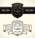 Vintage shield emblems. Crests vector logo set Stock Photos