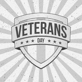 Vintage Shield with Veterans Day Text. On striped Background. Vector Illustration Royalty Free Stock Photography