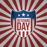 Vintage Shield with Veterans Day Text. Vector Illustration Royalty Free Stock Photography