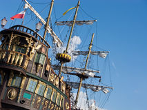 Vintage ship. Vintage tall ship view against blue sky Stock Photo