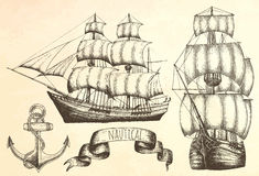 Vintage ship. Items on the marine theme. Hand drawn elements Stock Photography