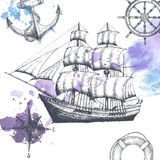Vintage ship. Items on the marine theme. Royalty Free Stock Images