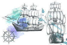 Vintage ship. Items on the marine theme. Stock Images