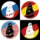Vintage Ship Logo Sailing Boat. Design vector template. Ancient Pirate Sailboat Logotype silhouette concept icon. On the background of flags of countries stock illustration