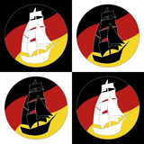 Vintage Ship Logo Sailing Boat. Design vector template. Ancient Pirate Sailboat Logotype silhouette concept icon. On the background of flags of Germany Stock Photo