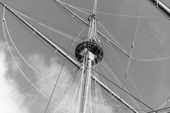 Vintage ship mast black and white. Royalty Free Stock Photos
