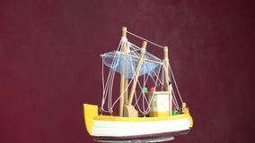 vintage ship model rotating stock video