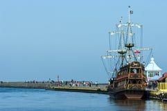 Vintage ship in port. A vintage ship in Ustka port, Poland Stock Images