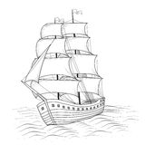Vintage ship with sails and the sea Royalty Free Stock Photography