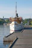 Vintage ship Saimaa near a wooden dock on a sunny summer morning. Lappeenranta, Finland Royalty Free Stock Images